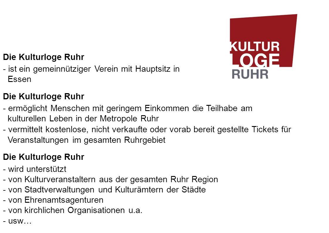 Die Kulturloge Ruhr - ist ein gemeinnütziger Verein mit Hauptsitz in Essen.