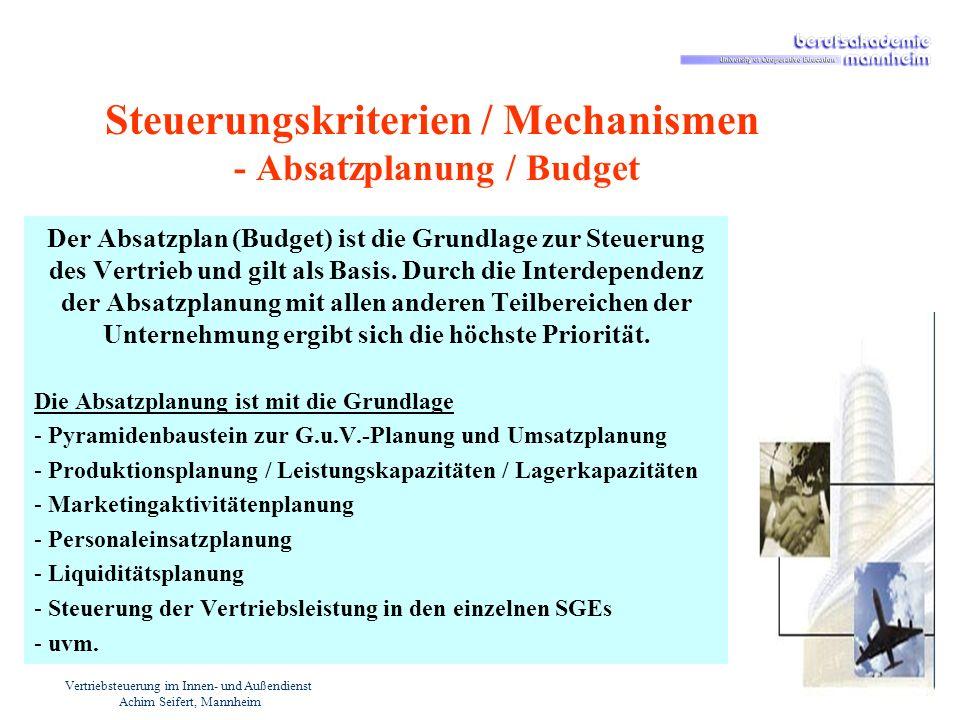 Steuerungskriterien / Mechanismen - Absatzplanung / Budget