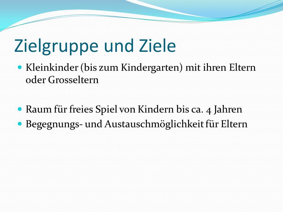 Zielgruppe und Ziele Kleinkinder (bis zum Kindergarten) mit ihren Eltern oder Grosseltern. Raum für freies Spiel von Kindern bis ca. 4 Jahren.