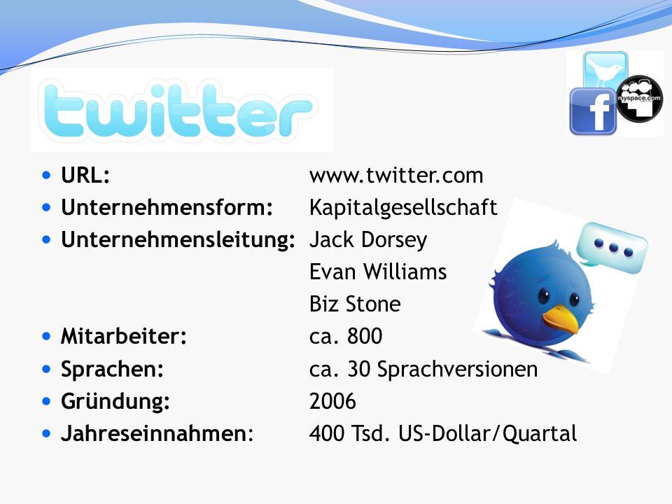 URL: www.twitter.com Unternehmensform: Kapitalgesellschaft. Unternehmensleitung: Jack Dorsey. Evan Williams.