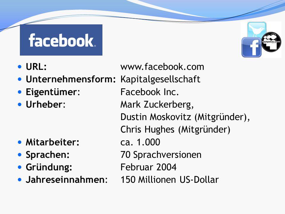 URL: www.facebook.com Unternehmensform: Kapitalgesellschaft. Eigentümer: Facebook Inc. Urheber: Mark Zuckerberg,