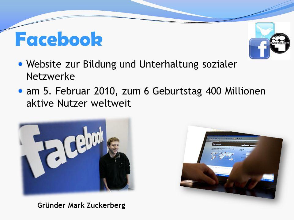 Facebook Website zur Bildung und Unterhaltung sozialer Netzwerke