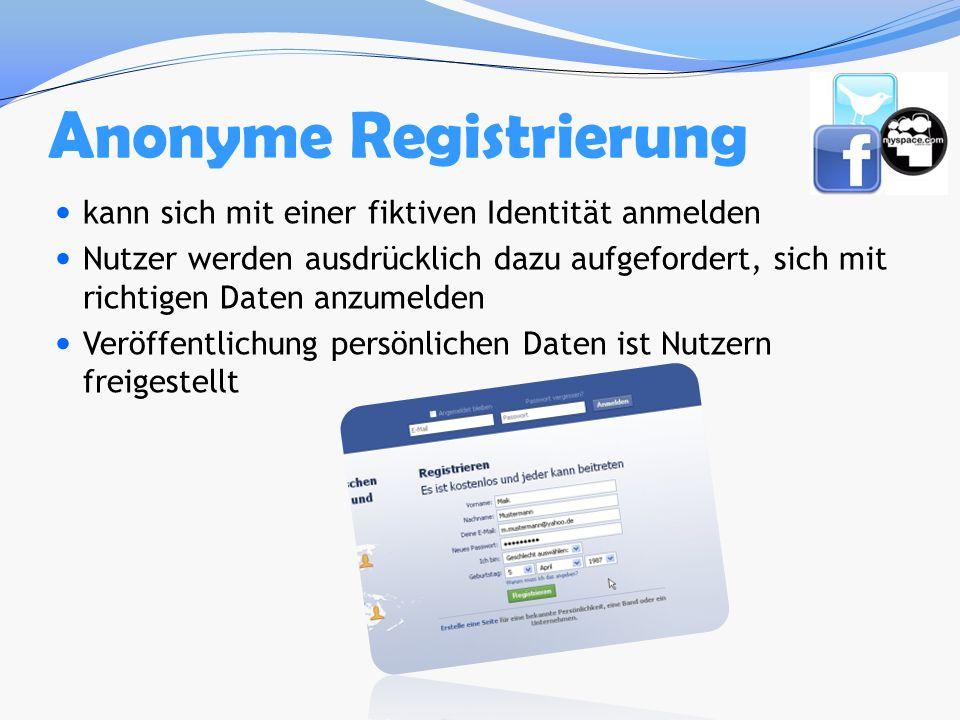 Anonyme Registrierung