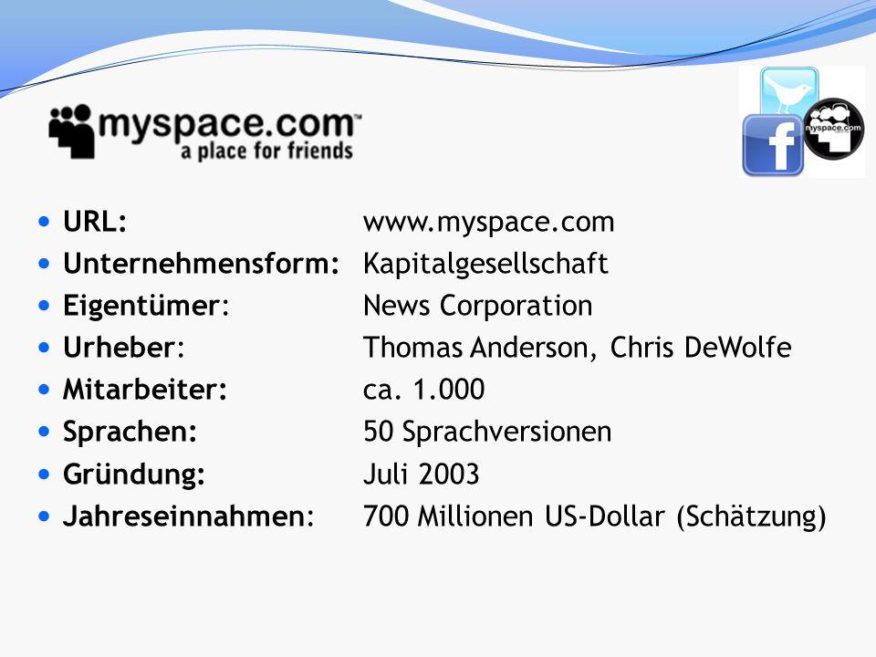 URL: www.myspace.com Unternehmensform: Kapitalgesellschaft. Eigentümer: News Corporation. Urheber: Thomas Anderson, Chris DeWolfe.