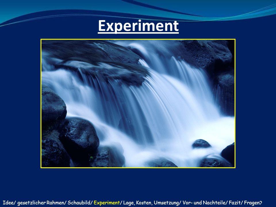 Experiment Idee/ gesetzlicher Rahmen/ Schaubild/ Experiment/ Lage, Kosten, Umsetzung/ Vor- und Nachteile/ Fazit/ Fragen