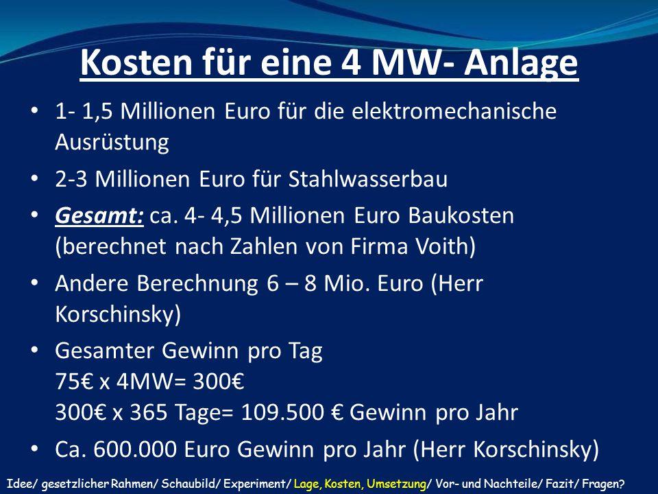 Kosten für eine 4 MW- Anlage
