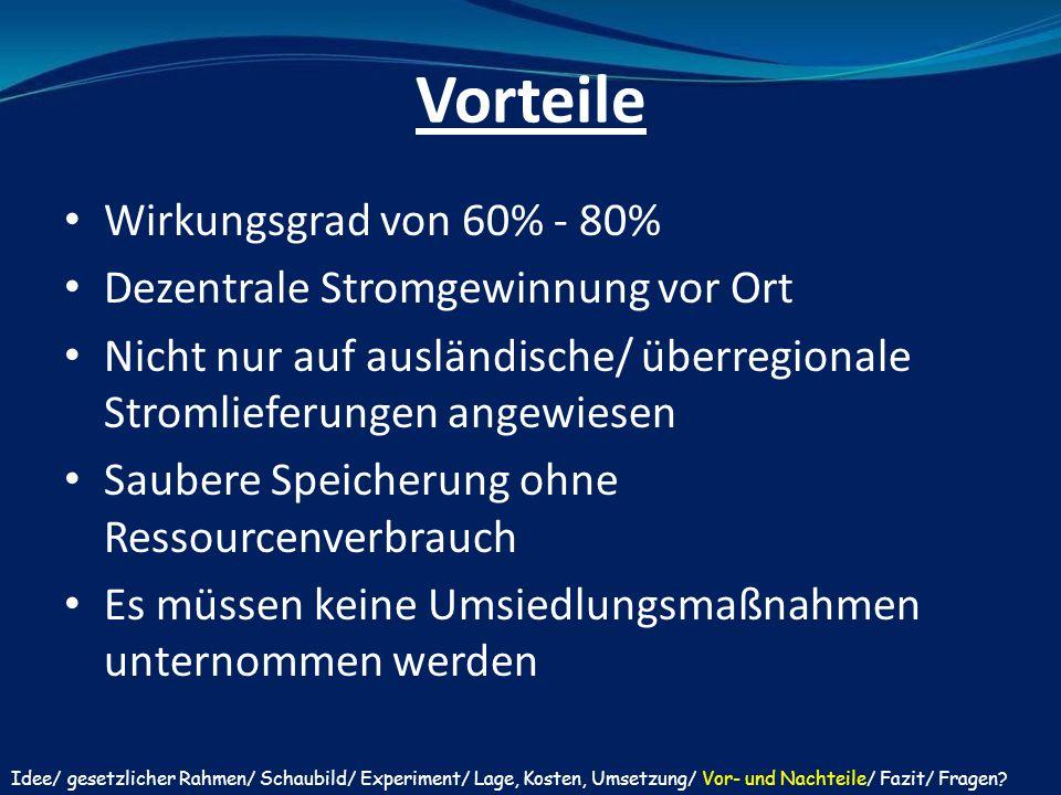 Vorteile Wirkungsgrad von 60% - 80% Dezentrale Stromgewinnung vor Ort