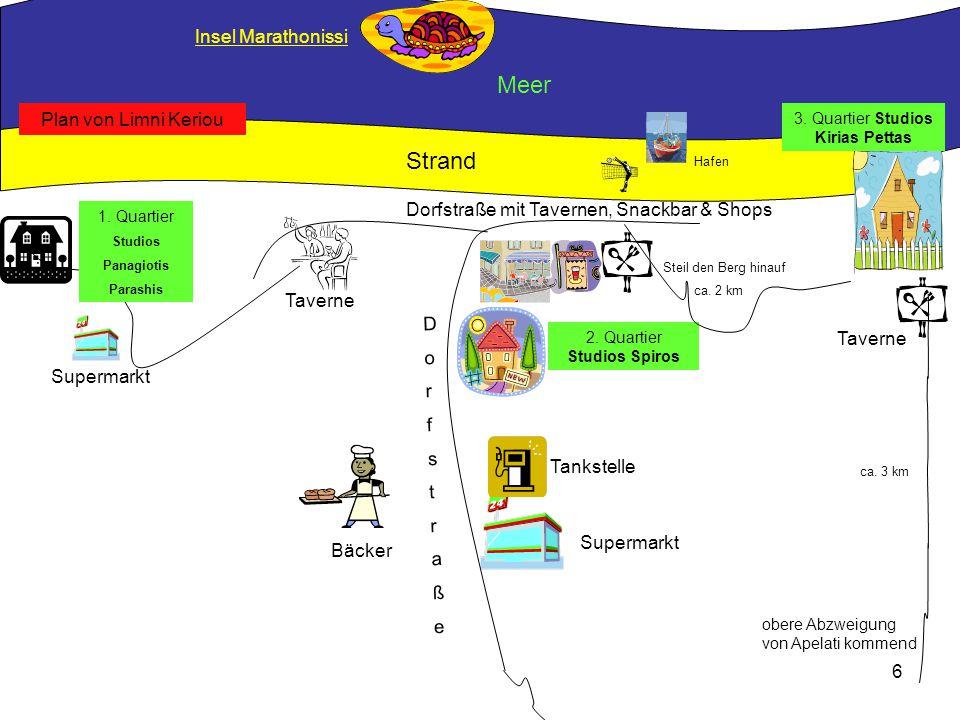 Meer Strand Insel Marathonissi Plan von Limni Keriou