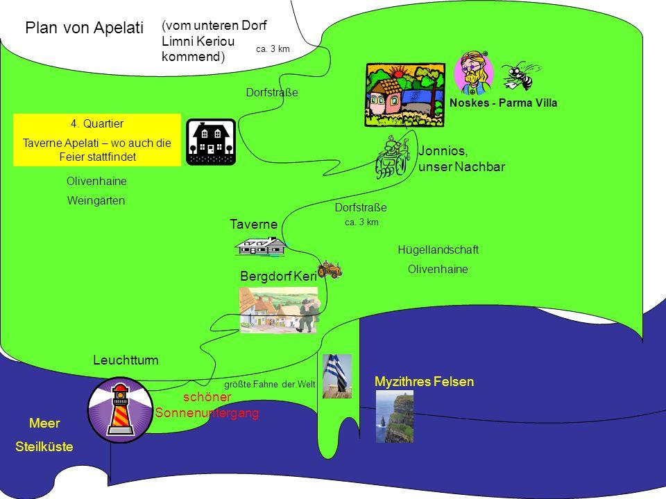Plan von Apelati (vom unteren Dorf Limni Keriou kommend) Jonnios,