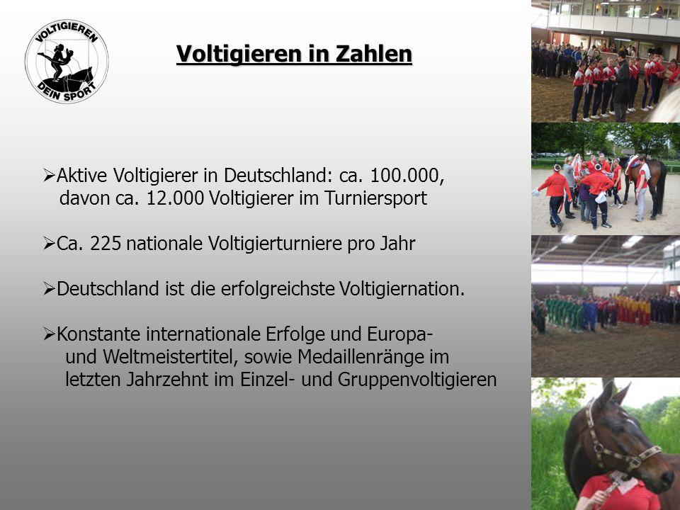 Voltigieren in Zahlen Aktive Voltigierer in Deutschland: ca. 100.000, davon ca. 12.000 Voltigierer im Turniersport.