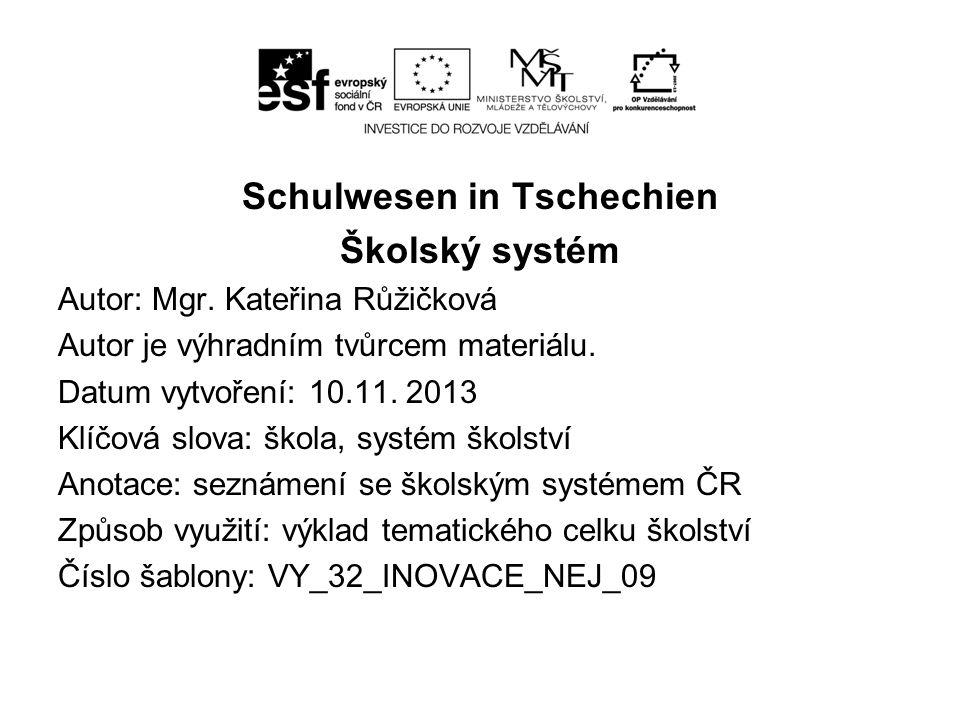 Schulwesen in Tschechien