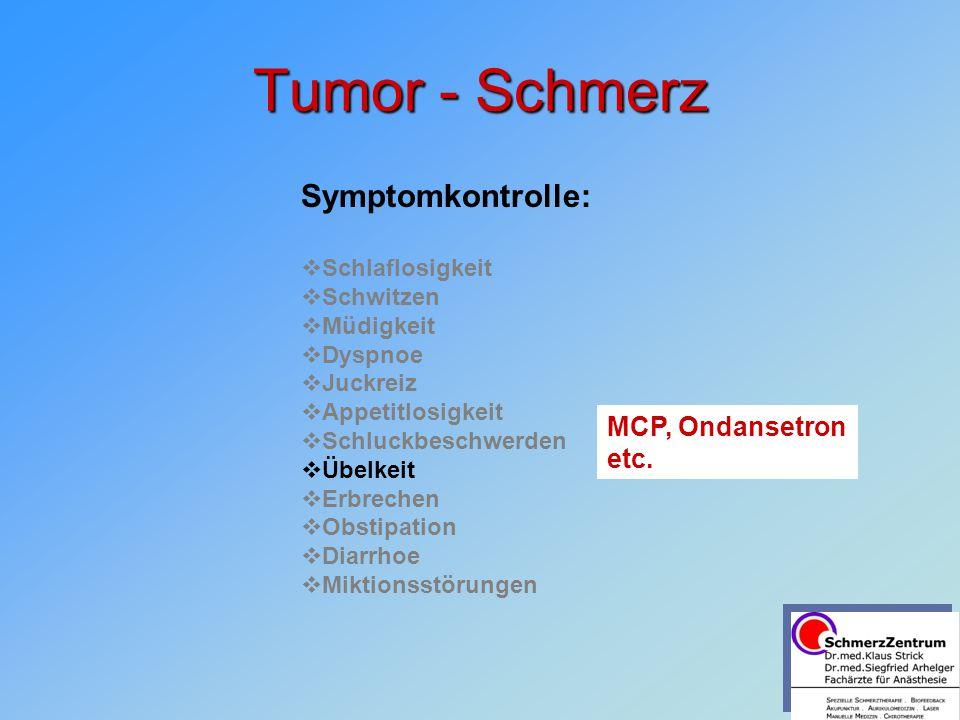 Tumor - Schmerz Symptomkontrolle: MCP, Ondansetron etc.