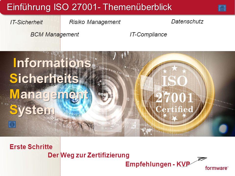 Einführung ISO 27001- Themenüberblick