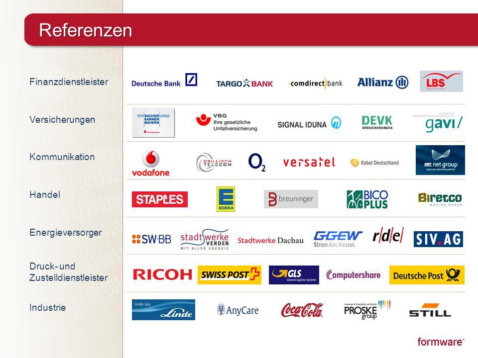 Referenzen Finanzdienstleister Versicherungen Kommunikation Handel