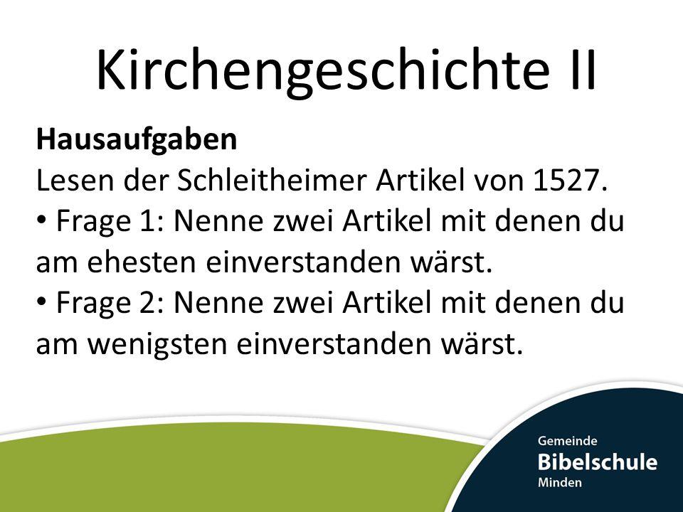 Kirchengeschichte II Hausaufgaben