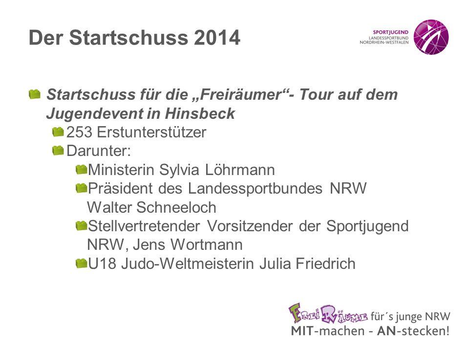 """Der Startschuss 2014 Startschuss für die """"Freiräumer - Tour auf dem Jugendevent in Hinsbeck. 253 Erstunterstützer."""