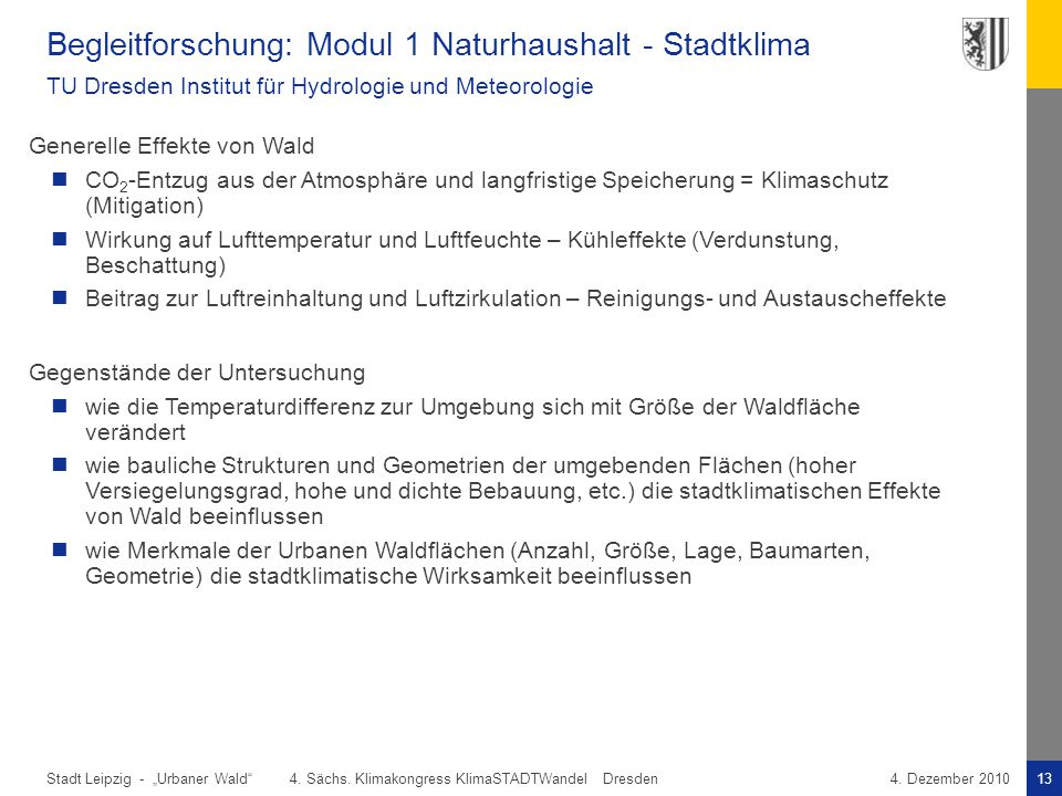 Begleitforschung: Modul 1 Naturhaushalt - Stadtklima TU Dresden Institut für Hydrologie und Meteorologie