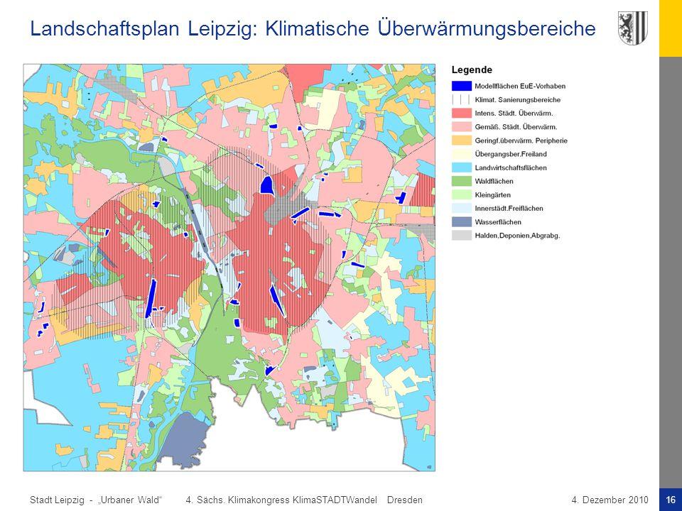 Landschaftsplan Leipzig: Klimatische Überwärmungsbereiche