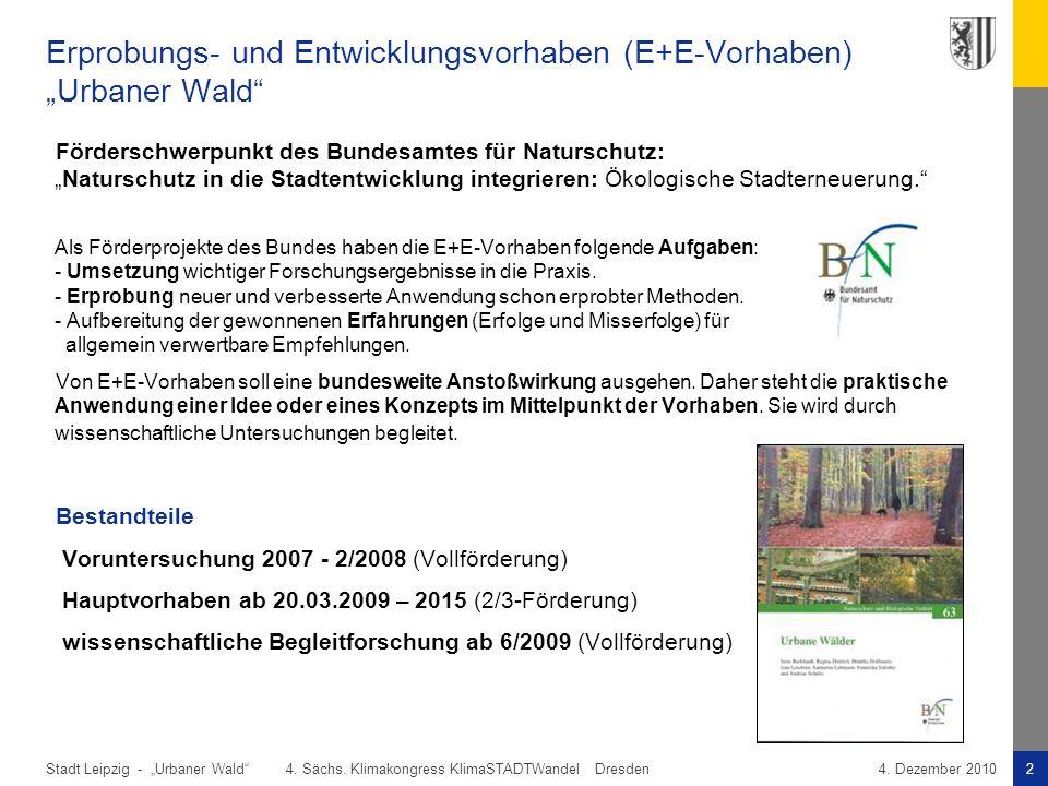 """Erprobungs- und Entwicklungsvorhaben (E+E-Vorhaben) """"Urbaner Wald"""