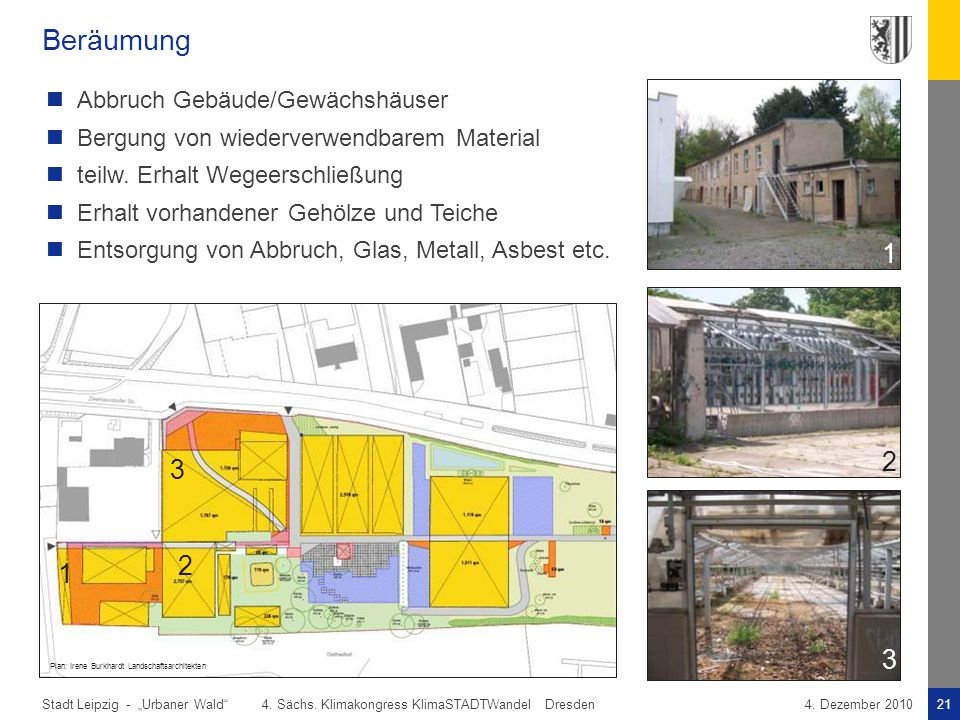 Beräumung 1 2 2 3 1 3 2 1 3 Abbruch Gebäude/Gewächshäuser