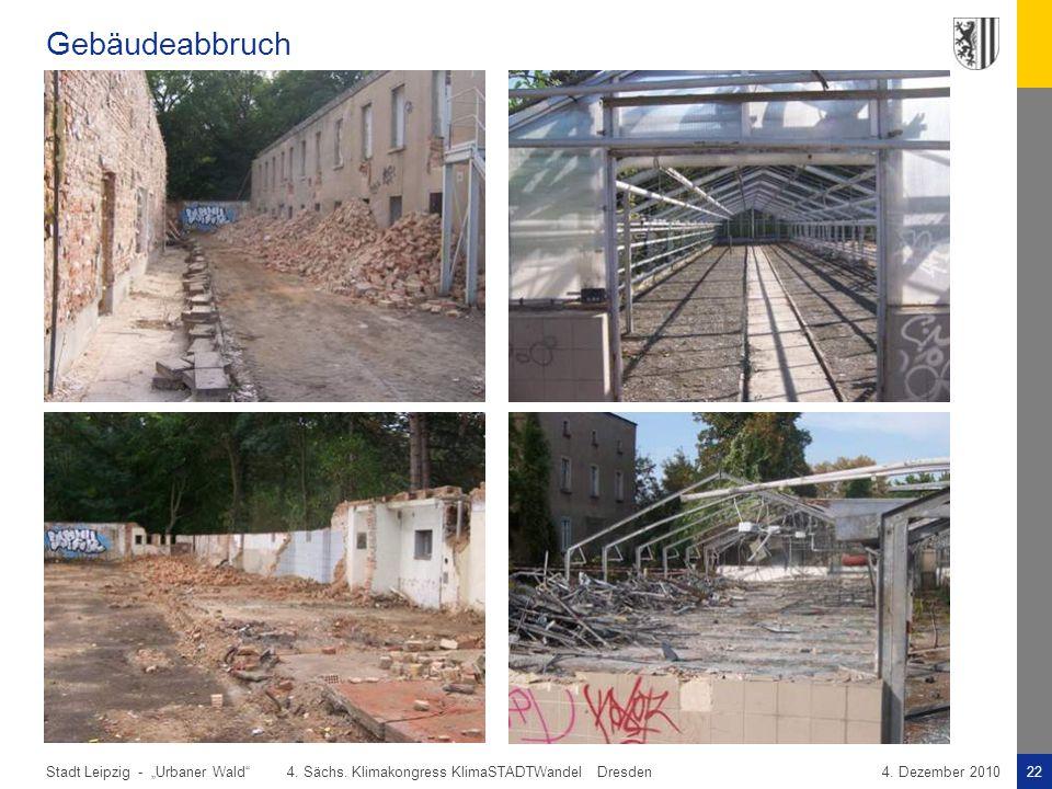 """Gebäudeabbruch """"Urbaner Wald 4. Sächs. Klimakongress KlimaSTADTWandel Dresden."""