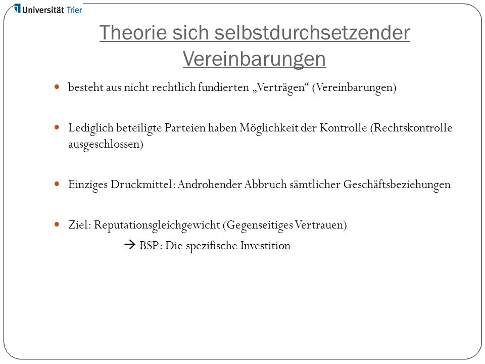 Theorie sich selbstdurchsetzender Vereinbarungen
