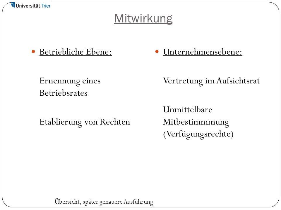 Mitwirkung Betriebliche Ebene: Ernennung eines Betriebsrates