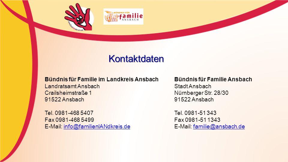 Kontaktdaten Bündnis für Familie im Landkreis Ansbach Bündnis für Familie Ansbach. Landratsamt Ansbach Stadt Ansbach.