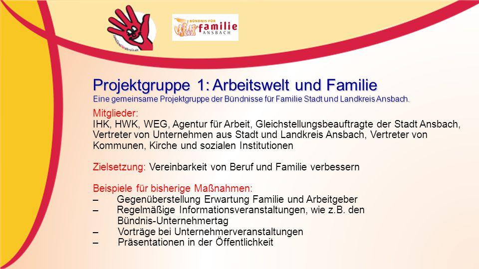 Projektgruppe 1: Arbeitswelt und Familie