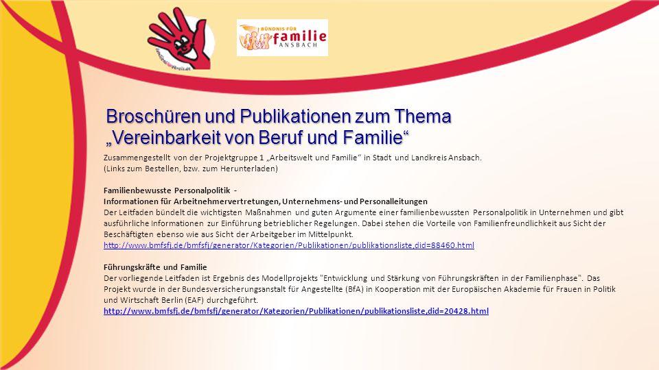 """Broschüren und Publikationen zum Thema """"Vereinbarkeit von Beruf und Familie"""