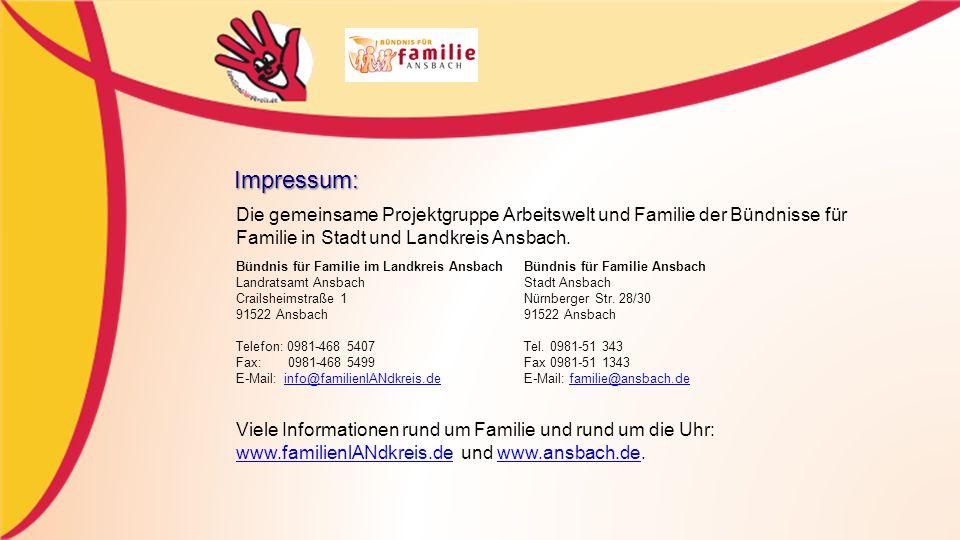 Impressum: Die gemeinsame Projektgruppe Arbeitswelt und Familie der Bündnisse für Familie in Stadt und Landkreis Ansbach.