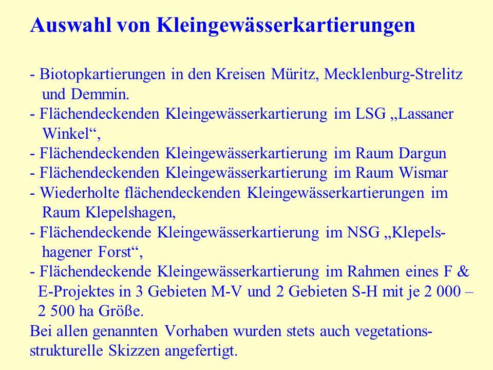Auswahl von Kleingewässerkartierungen - Biotopkartierungen in den Kreisen Müritz, Mecklenburg-Strelitz und Demmin.