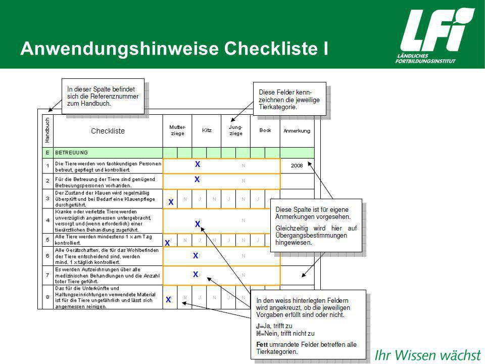 Anwendungshinweise Checkliste I