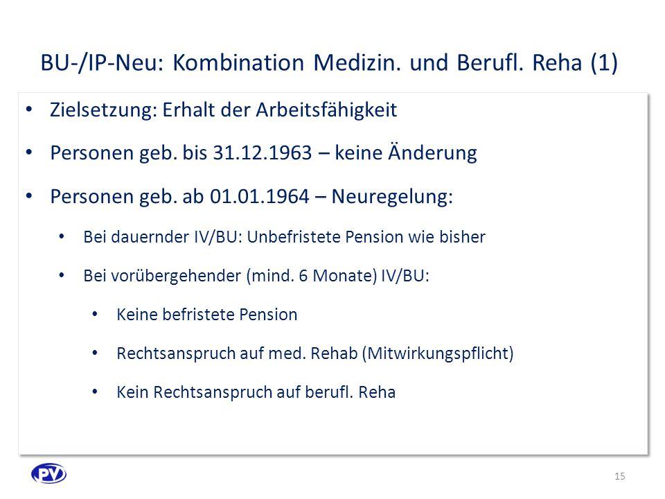 BU-/IP-Neu: Kombination Medizin. und Berufl. Reha (1)