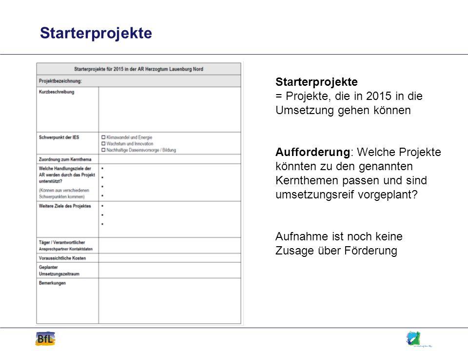Starterprojekte Starterprojekte = Projekte, die in 2015 in die Umsetzung gehen können.