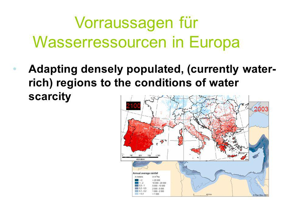 Vorraussagen für Wasserressourcen in Europa