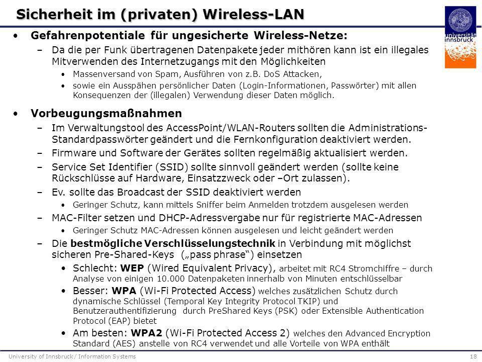 Sicherheit im (privaten) Wireless-LAN