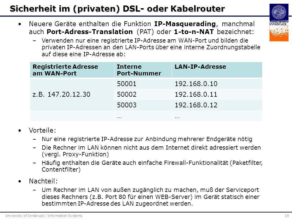 Sicherheit im (privaten) DSL- oder Kabelrouter
