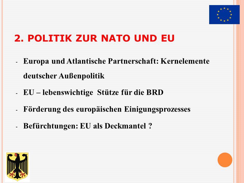 2. Politik zur NATO und EU Europa und Atlantische Partnerschaft: Kernelemente deutscher Außenpolitik.