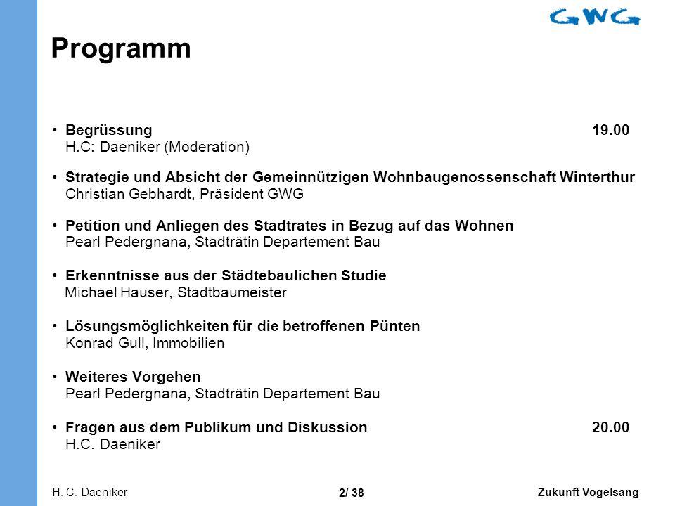Programm Begrüssung 19.00 H.C: Daeniker (Moderation)