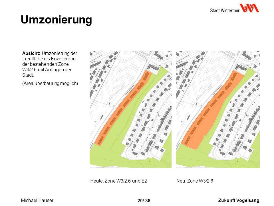 Umzonierung Absicht: Umzonierung der Freifläche als Erweiterung der bestehenden Zone W3/2.6 mit Auflagen der Stadt.
