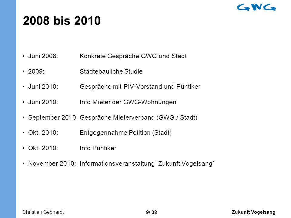 2008 bis 2010 Juni 2008: Konkrete Gespräche GWG und Stadt
