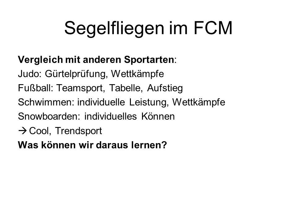 Segelfliegen im FCM Vergleich mit anderen Sportarten: