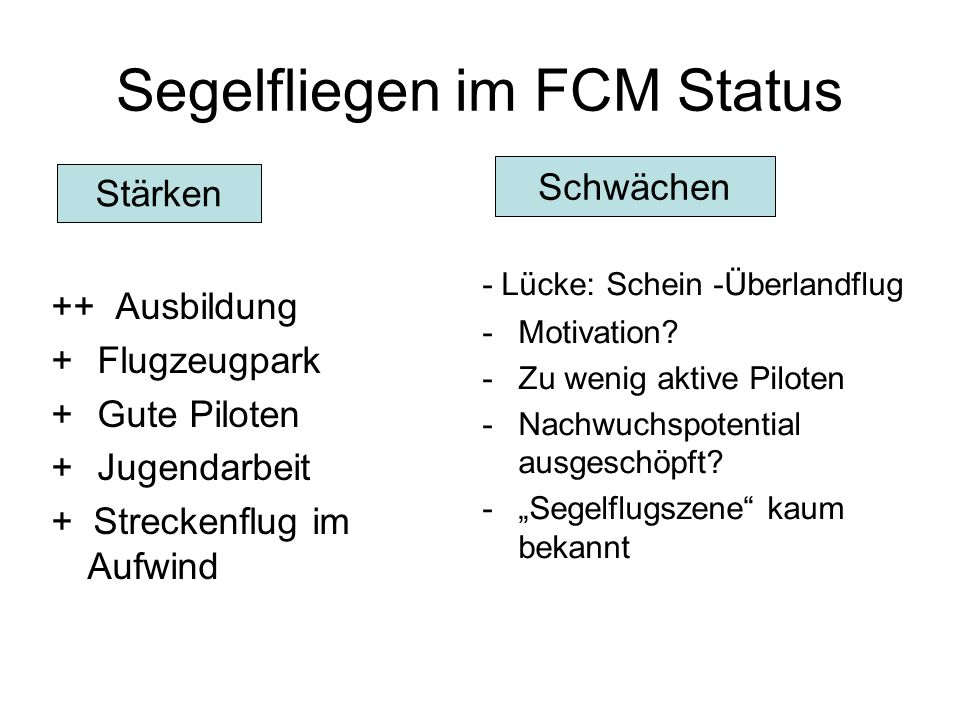 Segelfliegen im FCM Status