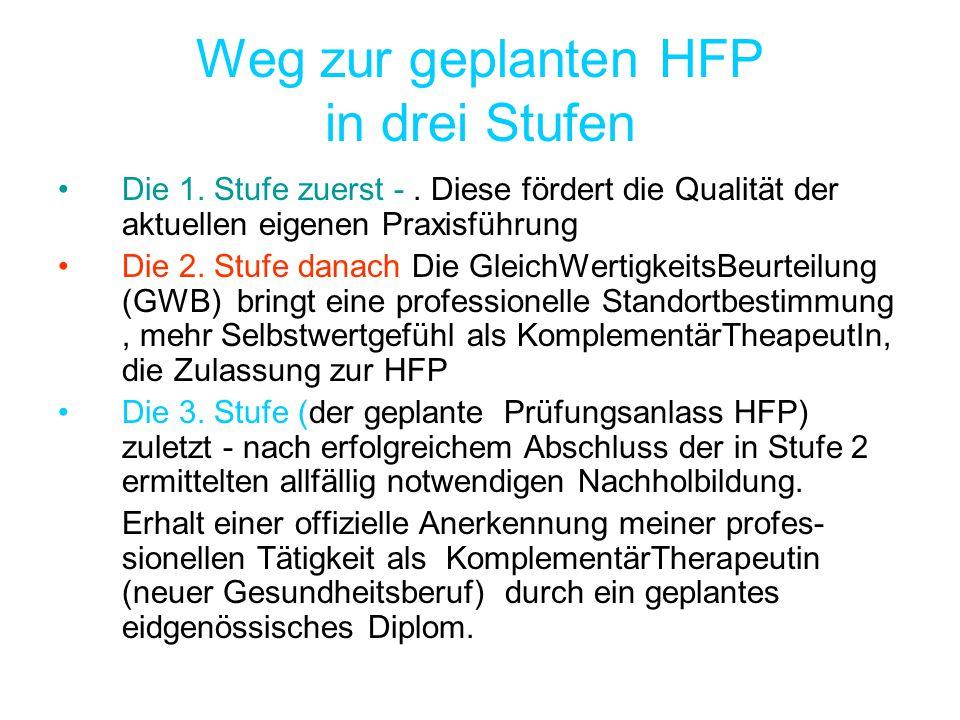 Weg zur geplanten HFP in drei Stufen