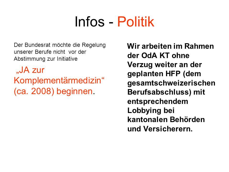 "Infos - Politik ""JA zur Komplementärmedizin (ca. 2008) beginnen."
