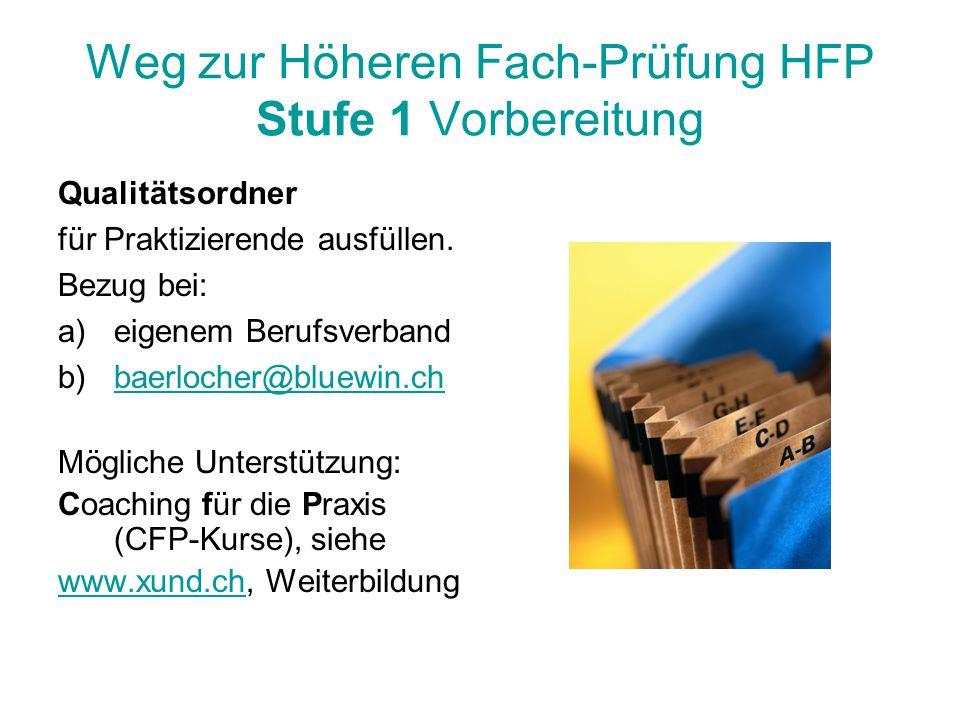 Weg zur Höheren Fach-Prüfung HFP Stufe 1 Vorbereitung