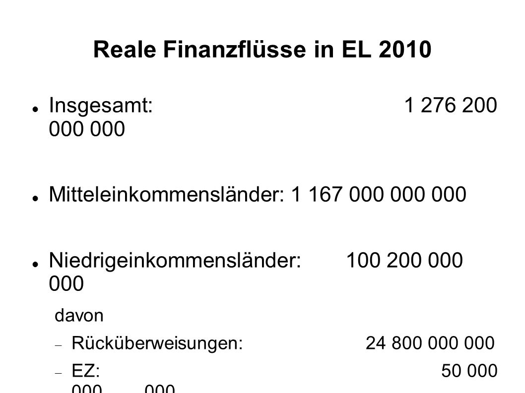 Reale Finanzflüsse in EL 2010