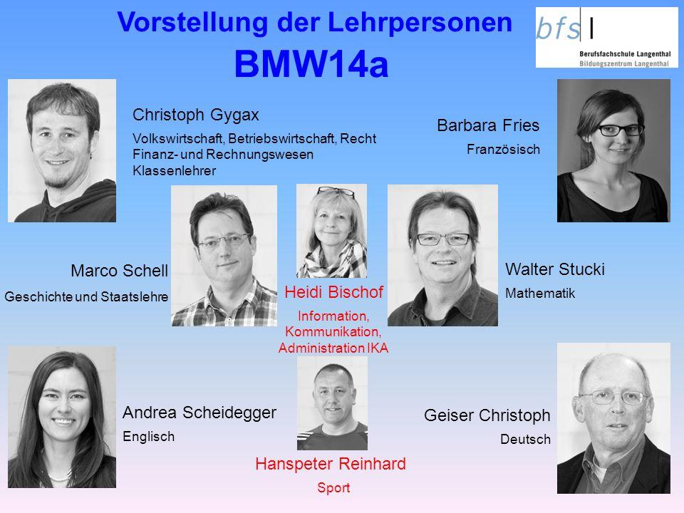 Vorstellung der Lehrpersonen BMW14a