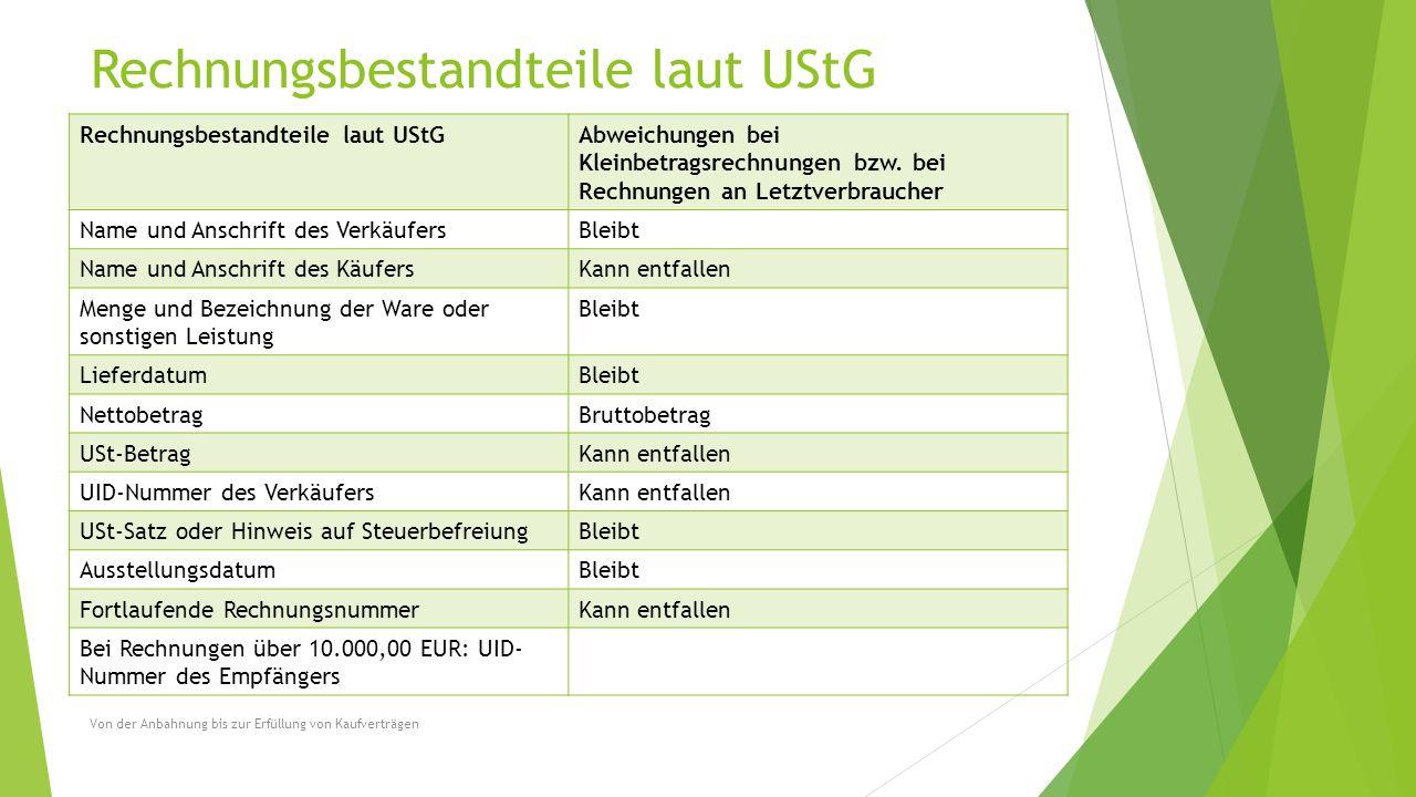 Rechnungsbestandteile laut UStG